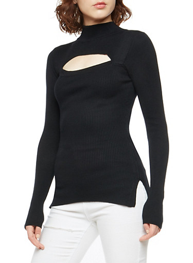 Ribbed Knit Cut Out Sweater,BLACK,large