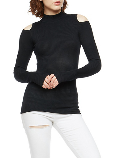 Ribbed Knit Cold Shoulder Sweater,BLACK,large