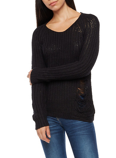 Long Sleeve Ripped Sweater with Zipper Back,BLACK,large