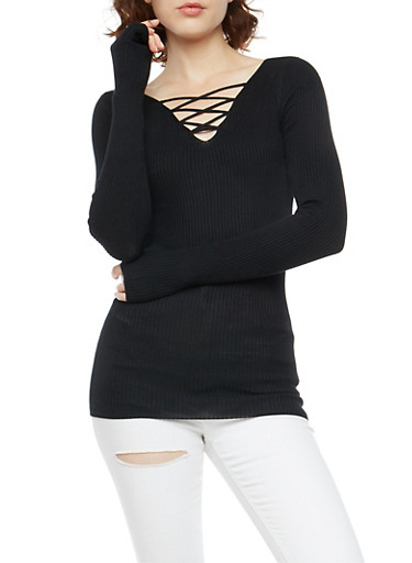 Ribbed Knit Long Sleeve Sweater,BLACK,large