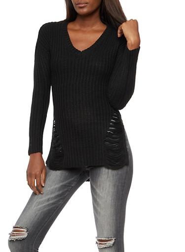 V Neck Shredded High Low Sweater,BLACK,large
