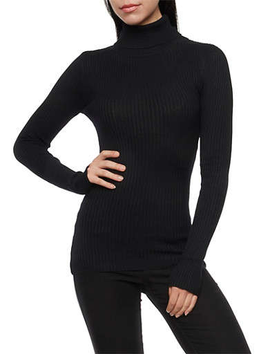 Ribbed Turtleneck Sweater,BLACK,large