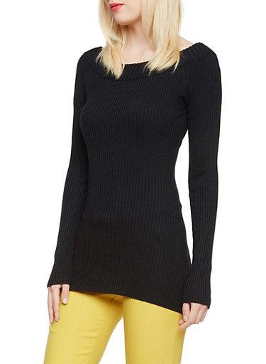 Ribbed Top with Boat Neck,BLACK,large