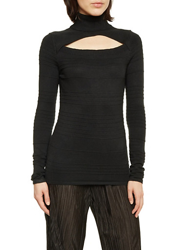 Turtleneck Top with Cutout,BLACK,large