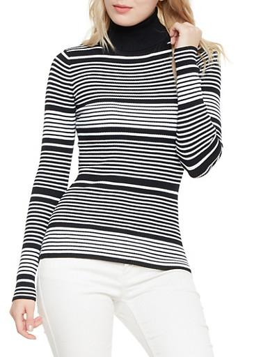 Striped Turtleneck Sweater,BLACK/WHITE,large