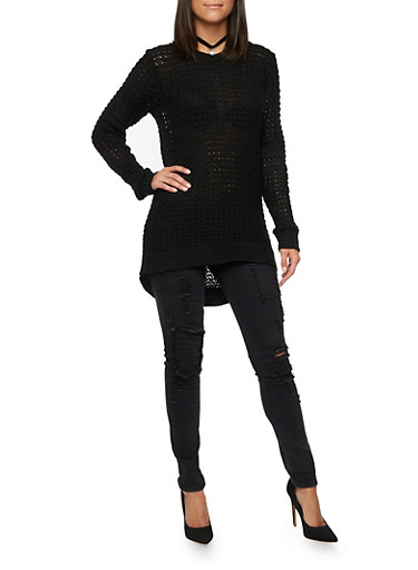 Waffle Knit Sweater with High Low Hem,BLACK,large