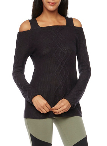 Cold Shoulder Cable Knit Sweater,BLACK,large