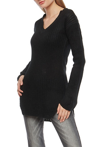 V Neck High Low Tunic Sweater,BLACK,large