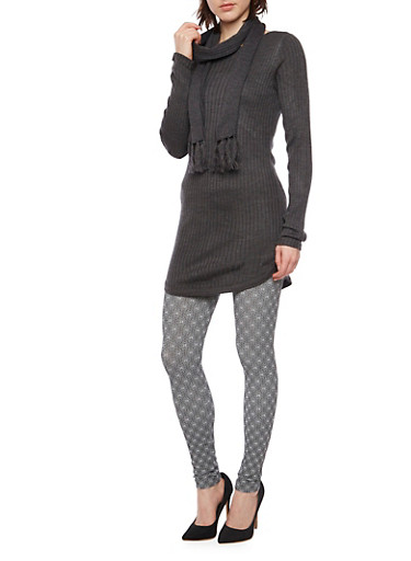 Matching Rib Knit Tunic Top and Scarf,CHARCOAL,large