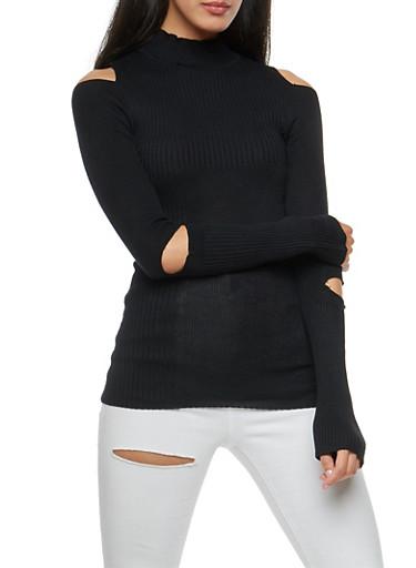 Double Slit Ribbed Knit Sweater,BLACK,large