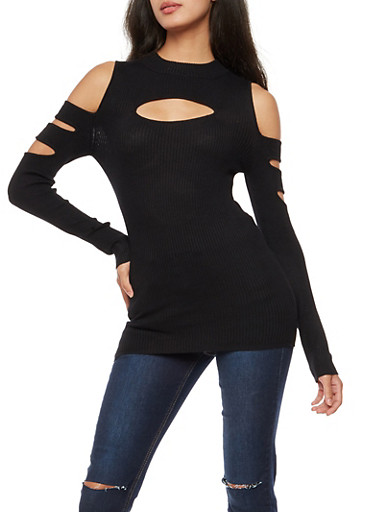 Cold Shoulder Opened Sleeve Ribbed Knit Top,BLACK,large