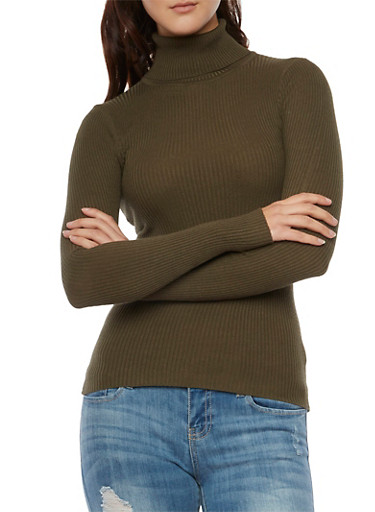 Turtleneck Top in Ribbed Knit,OLIVE,large
