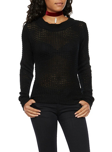 Open Stitch Sweater with High Low Hem,BLACK,large