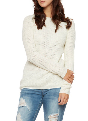 Popcorn Knit Sweater,IVORY,large