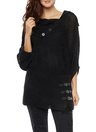 Sweater with Faux Leather Buckle Accents,BLACK,large