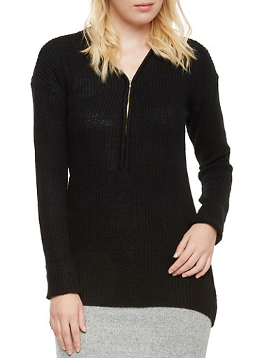 Knit Sweater with Zip V Neck,BLACK,large