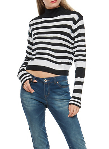 Cropped Striped Turtleneck Sweater,BLACK/WHITE,large