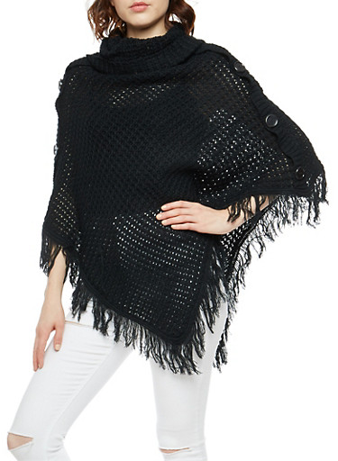 Chunky Knit Button Detail Poncho with Fringe,BLACK,large