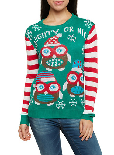 Striped Sleeve Sweater with Naughty or Nice Owl Print,GREEN,large