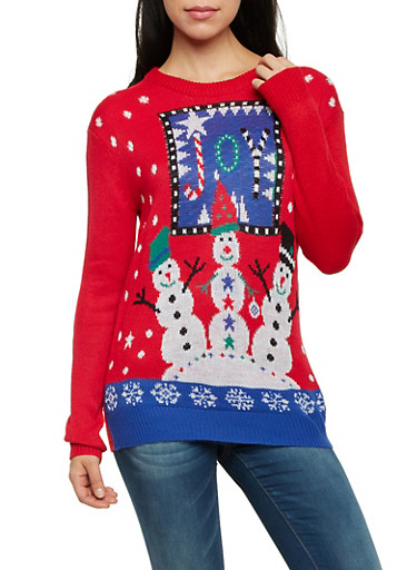 Crew Neck Sweater with Joy Snowmen Graphic,RED,large
