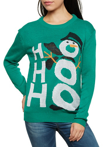 Crew Neck Sweater with Snowman Graphic,KELLY GREEN,large