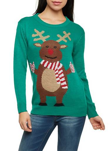 Crew Neck Sweater with Reindeer Graphic,KELLY GREEN,large
