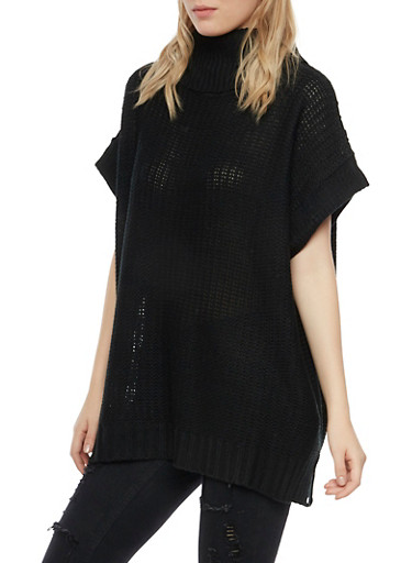 Oversized Tunic Sweater with Cowl Neck,BLACK,large