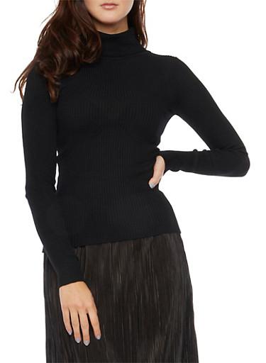Turtleneck Top in Rib Knit,BLACK,large