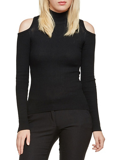 Cold Shoulder Sweater with Cutout Back,BLACK,large
