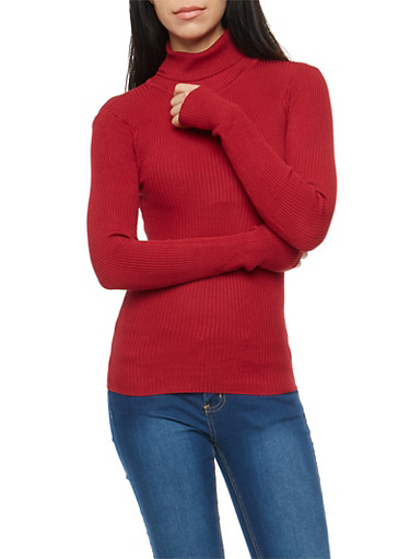 Cranberry Rib Knit Turtleneck Sweater,CRANBERRY,large