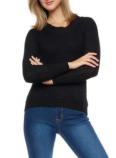 Long Sleeve Solid Sweater,BLACK,large