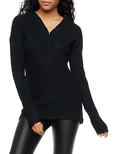 V Neck Half Zip Knit Sweater,BLACK,large
