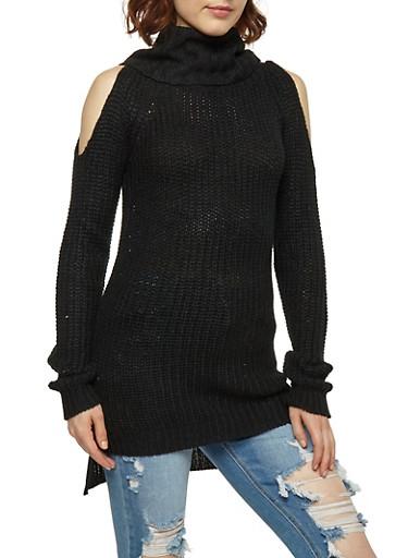 Cold Shoulder Cowl Neck Sweater,BLACK,large