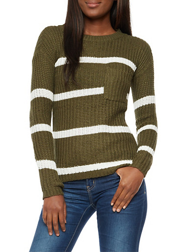 Front Pocket Striped Knit Sweater at Rainbow Shops in Daytona Beach, FL | Tuggl