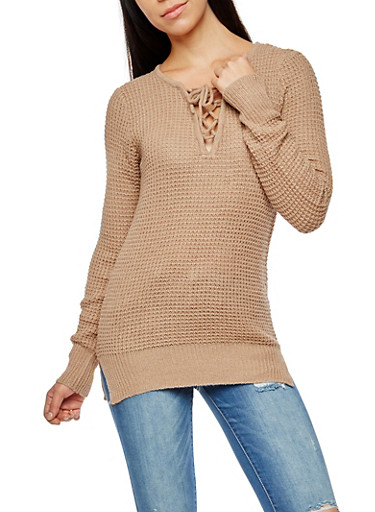 Long Sleeve Lace Up Sweater,KHAKI,large