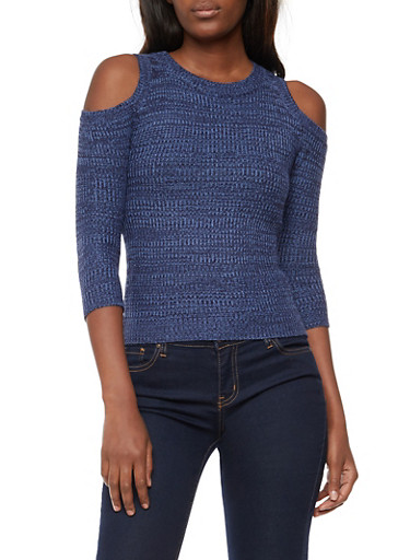 Two Tone Knit Cold Shoulder Sweater,DENIM,large
