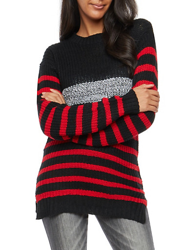 Striped Long Sleeve Sweater,BLACK,large