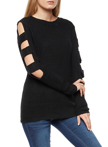 Open Sleeves Knit Sweater,BLACK,large