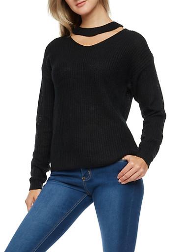 Choker Neck Knit Sweater,BLACK,large