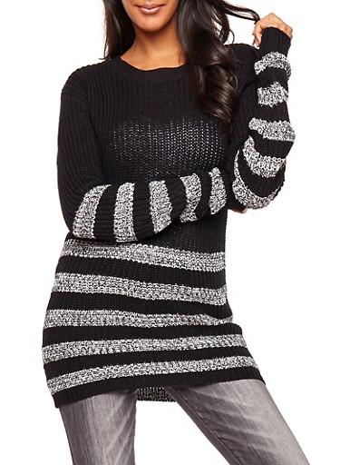Striped Knit Tunic Sweater,BLACK,large