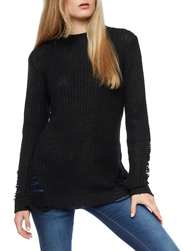Chunky Knit Sweater with Slashed Details,BLACK,large