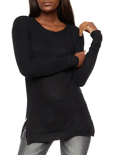 Long Sleeve Solid Zip Side Sweater,BLACK,large
