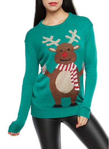 Reindeer Christmas Sweater,KELLY GREEN,large