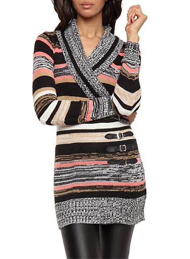 Striped Faux Wrap Front Sweater,BLACK/WHITE,large