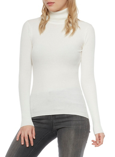 Turtleneck Top in Ribbed Knit,IVORY,large