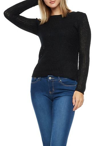 Long Sleeve High Low Solid Knit Sweater,BLACK,large