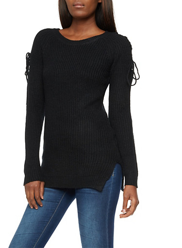 Lace Up Long Sleeve Knit Sweater,BLACK,large