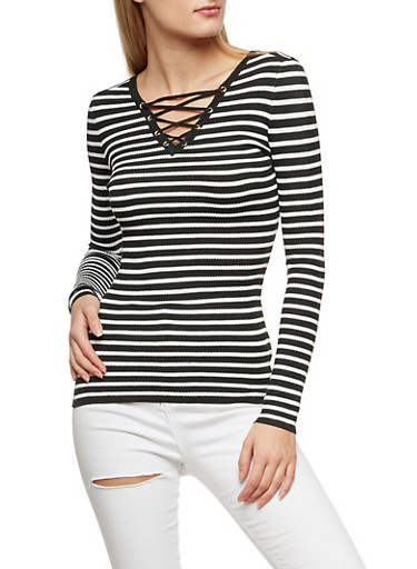 Striped Long Sleeve Lace Up Top,BLACK/WHITE,large