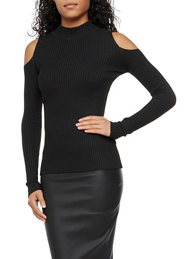 Long Sleeve Cold Shoulder Ribbed Knit Top,BLACK,large