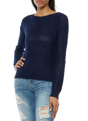 Sweater with High Low Hem,NAVY,large